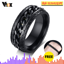 Vnox 8mm Cool Black Spinner Chain Ring for Men Tire Texture Stainless Steel Rotatable Links Punk Male Anel Amazing Price