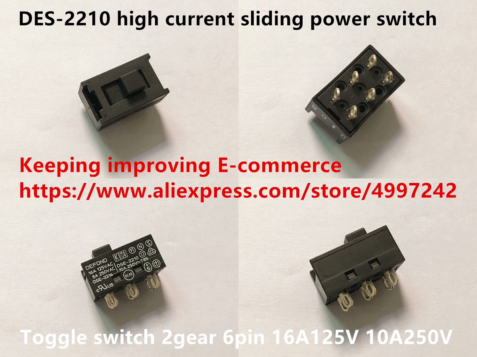 DEFOND DSE-2216 DSE-2210 Power Slide Switch 6 Pin 2 Position 10A 250VAC T85