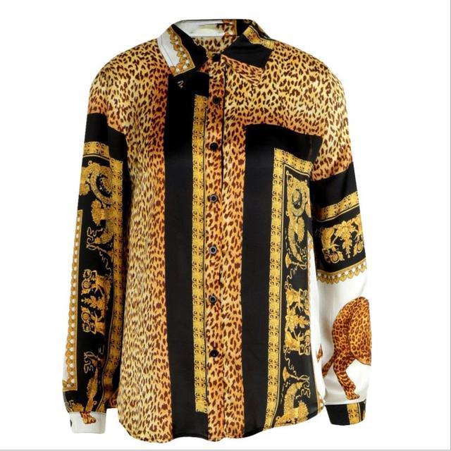 2019 Spring Women Elegant Party Loose Button Shirt Turn-down Collar Female Leopard Print Knot Front Long Sleeve Blouse 5