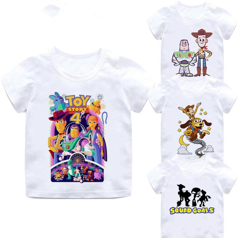 2019 New Toy Story 4 Cartoon Letter Children's T-shirt Cotton Kids T Shirt Buzz Lightyear/Woody Summer Clothes,BAL031