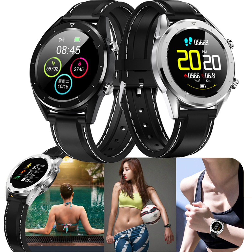 <font><b>IP</b></font> <font><b>68</b></font> Waterproof DT28 ECG Blood Oxygen Blood Pressure Heart Rate Monitor Sports Smart Watch 1.54 inch colorful display screen image