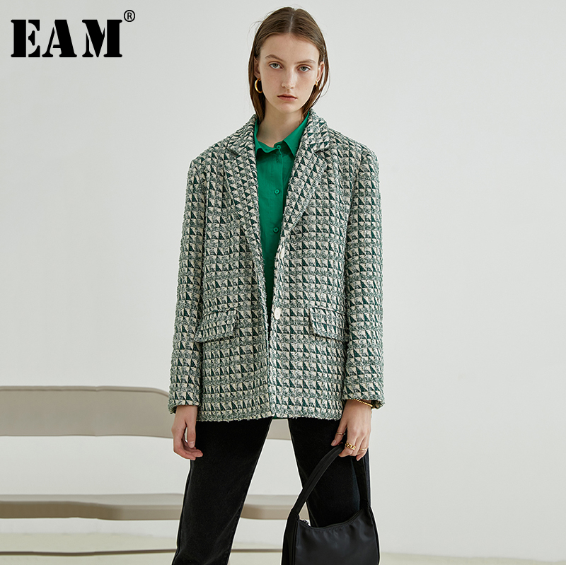 [EAM]  Women Green Plaid Tweed Big Size Blazer New Lapel Long Sleeve Loose Fit  Jacket Fashion Tide Spring Autumn 2019 1D233