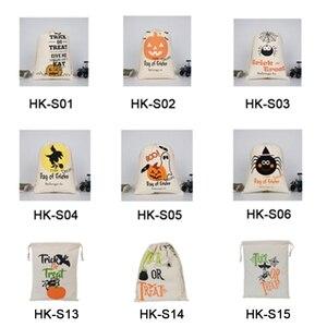Image 3 - Luvy 1pcs Halloween Sacco Sacchetto di Tote della Tela di Halloween Secchio Bambini Decorazione Del Partito Regalo di natale Babbo Sacchi Trick or Treat Candy borsa