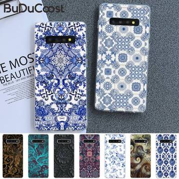 Blue and white porcelain Soft Phone Cover For Samsung S5 6 7 8 9 10 S8 S9 S10 plus S10E lite S10-5G S20 UITRA plus image