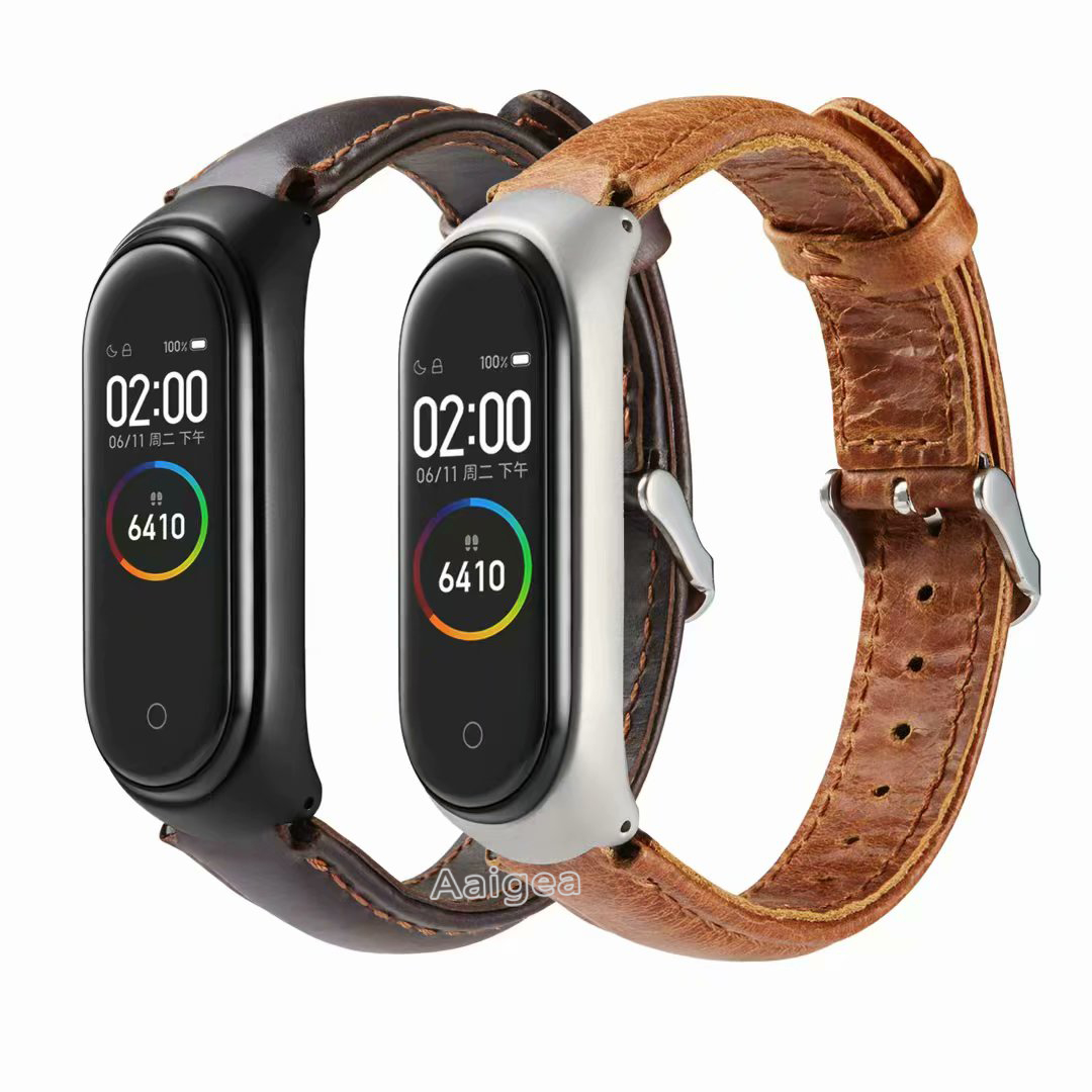 Colorful Genuine Leather Watch Band Strap For Xiaomi Mi Band 3 4 Miband 4 Leather Wrist Strap Band For Xiaomi Mi Band 4 Bracelet