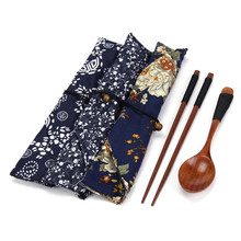 1 Pairs Chopstick +1 Spoons Handmade Japanese Natural Wood Chopsticks Spoon Set With Gift Pocket Bamboo Chopstick chopsticks set