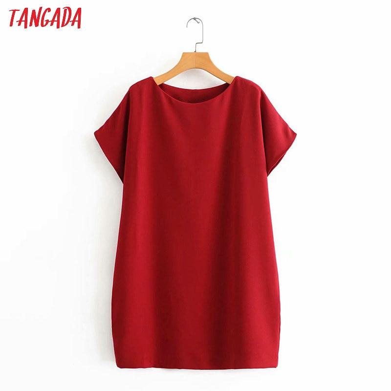 Tangada Fashion Women Solid Red Summer Dress Short Sleeve Ladies Loose Work Mini Dress Vestidos 3A32