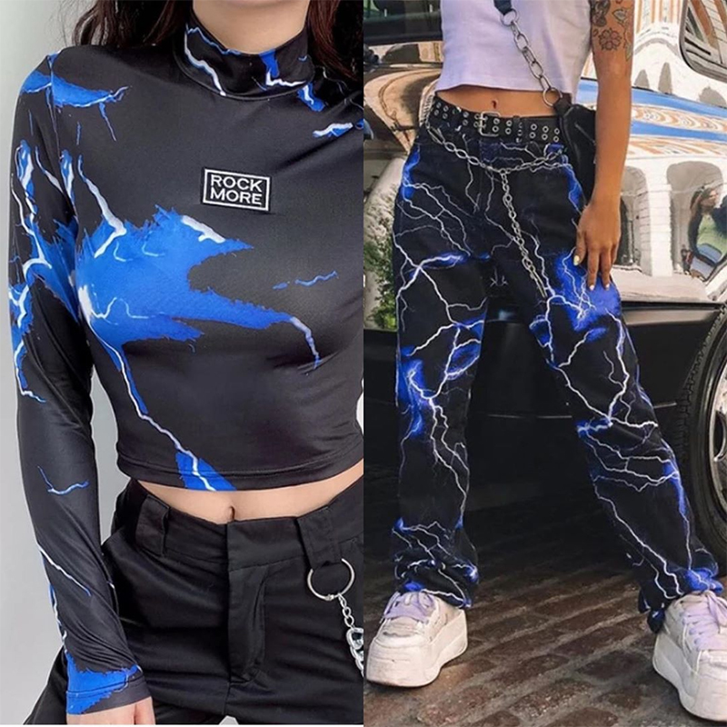 SUCHCUTE Tie Dye Women Two Pieces Sets Gothic Streetwear Tshirt And Pants Women Suits Tracksuit Spring 2020 Female Party Outfits