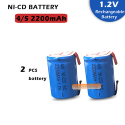 2PCS x Ni-Cd 4/5 SubC Sub C 1.2V 2200mAh Rechargeable Battery with Tab - Blue Color Free Shipping