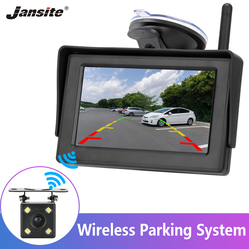 Jansite Reverse Camera Wireless 4.3'' Car Monitor Rear View Backup Camera Night Vision For RV Pickup Minivan Parking Assistance