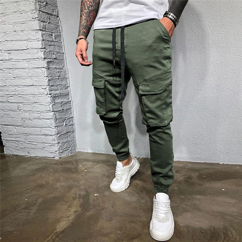 Mens Skinny Joggers Sweatpants Casual Male Fitness Bodybuilding Solid Pants Pocket Drawstring Long Trousers Plus Size Hot Aliexpress