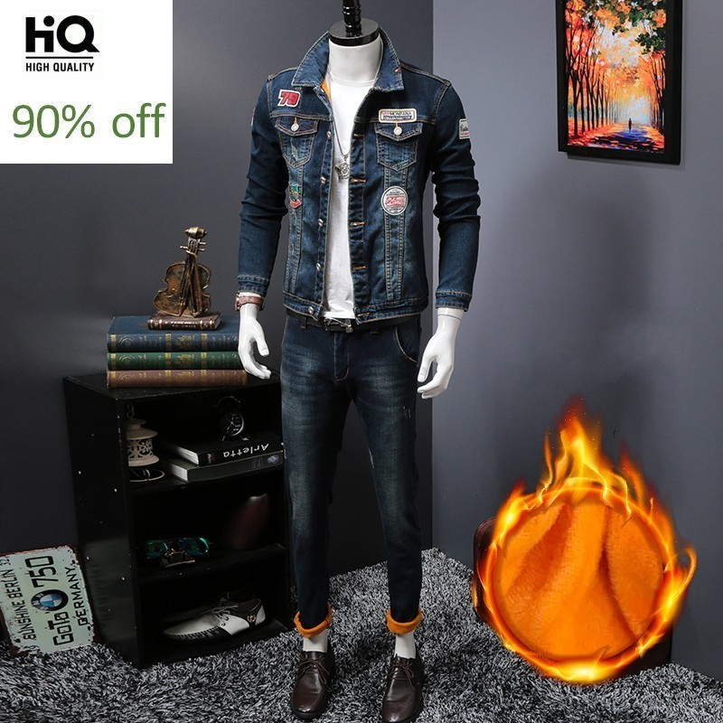 Winter Men Denim Velvet Thick Coat New Korean Slim Patchwork Warm Cowboy Jackets Tops Biker Trousers Two Piece Set Male S-3XL
