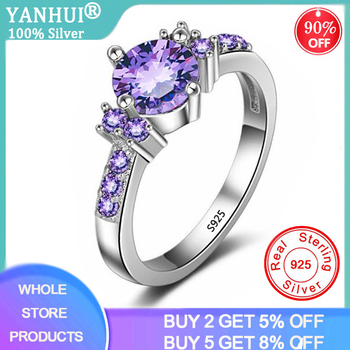 YANHUI Trendy Gemstones Silver 925 Jewelry Purple Crystal Rings For Women Solid Ring Luxury Amethyst Cocktaill