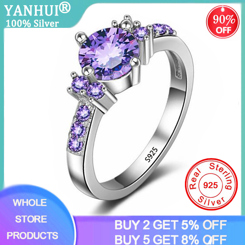 YANHUI Trendy Gemstones Silver 925 Jewelry Purple Crystal Rings For Women Solid Silver Ring Luxury Amethyst Ring Cocktaill Rings