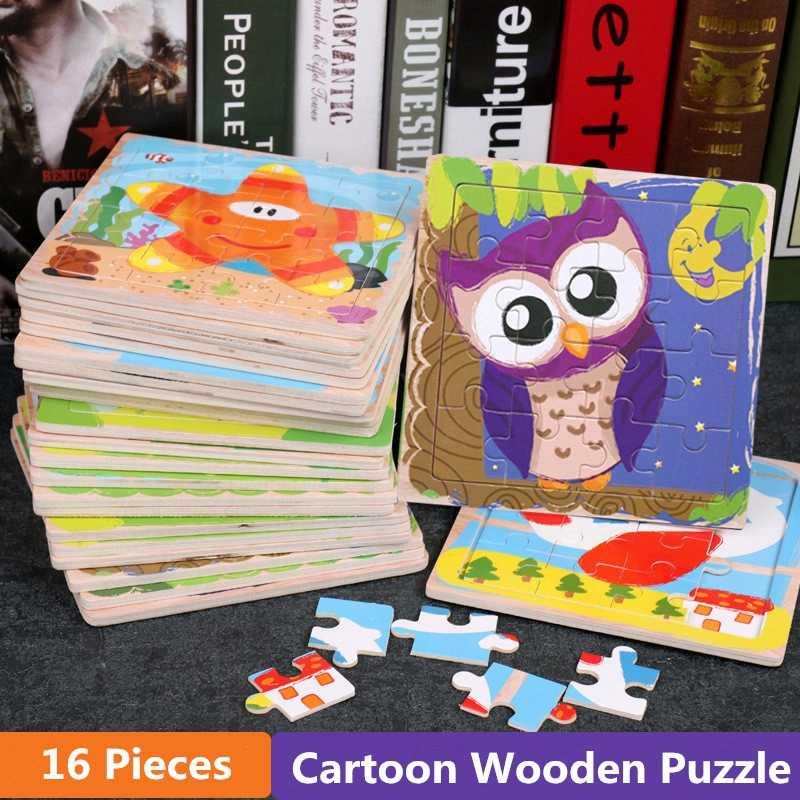 16 sztuk Cartoon drewniane Puzzle zabawki edukacyjne montessori dla dzieci transport zwierząt życie morskie poznanie Puzzle zabawki