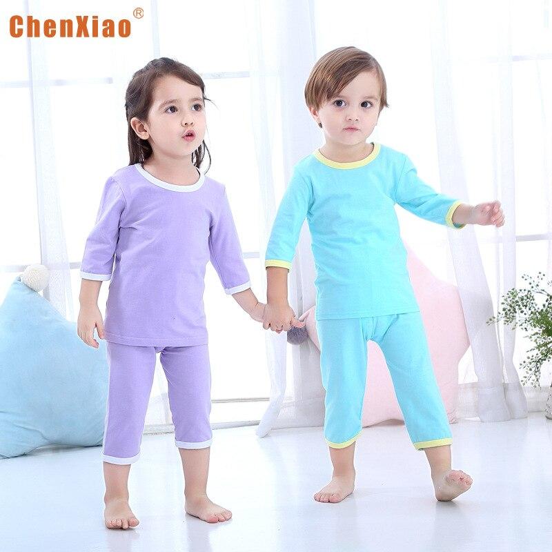 Children Air Conditioning Clothes Underwear Suit Men And Women Children CHILDREN'S Tracksuit Pajamas Summer Lycra Cotton Baby Th