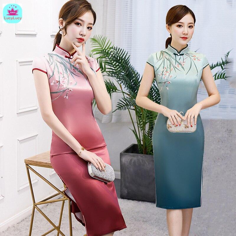2019 Summer New Chinese Style Tang Suit Retro Medium And Long Sleeves Silk Improved Slim Dress Cheongsam