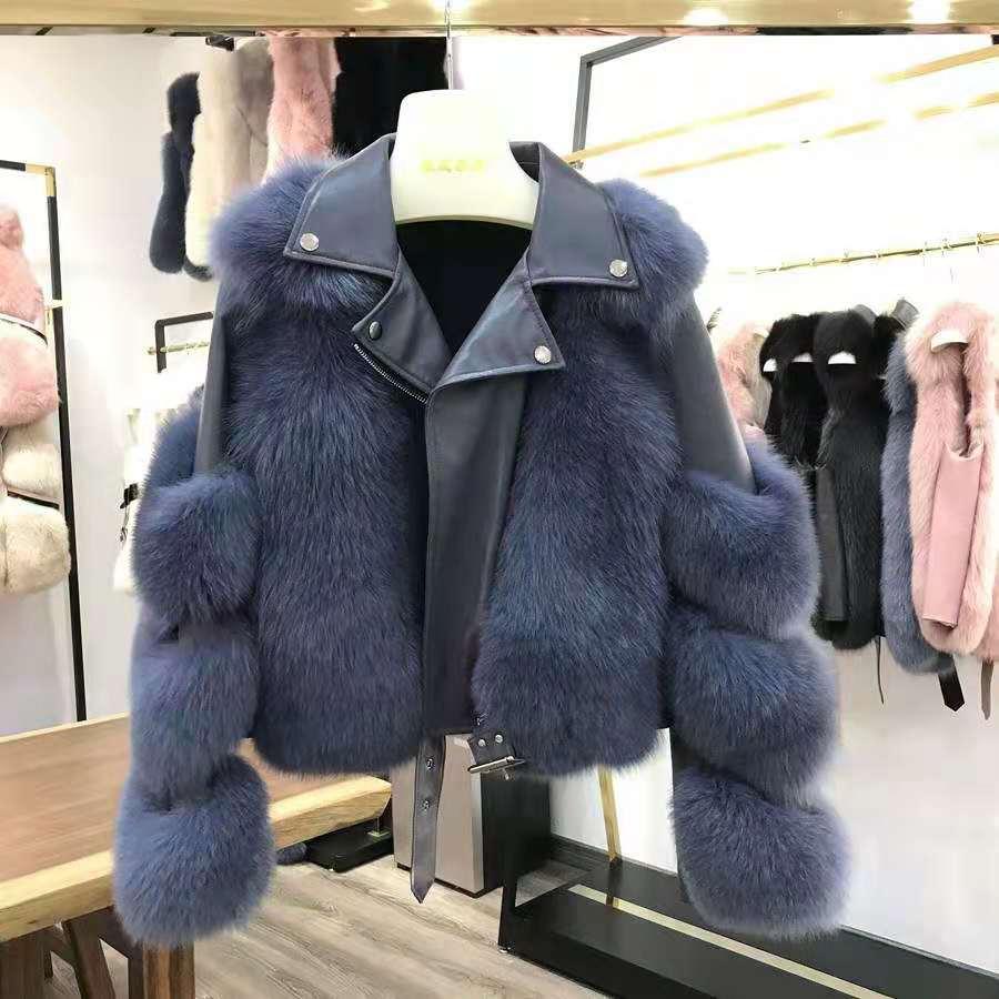 H6eaf1eed761c49b49ad65c2210b222c9Y Women Faux Fur Coat with Fox Fur Winter Fashion 2021 New Motocycle Style Luxury Fox Fur Leather Jackets Woman Trendy Overcoats