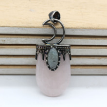 Trendy-beads Classic Style Silver Plated Moon Labradorite Stone Pendant Oval Rose Pink Quartz Jewelry
