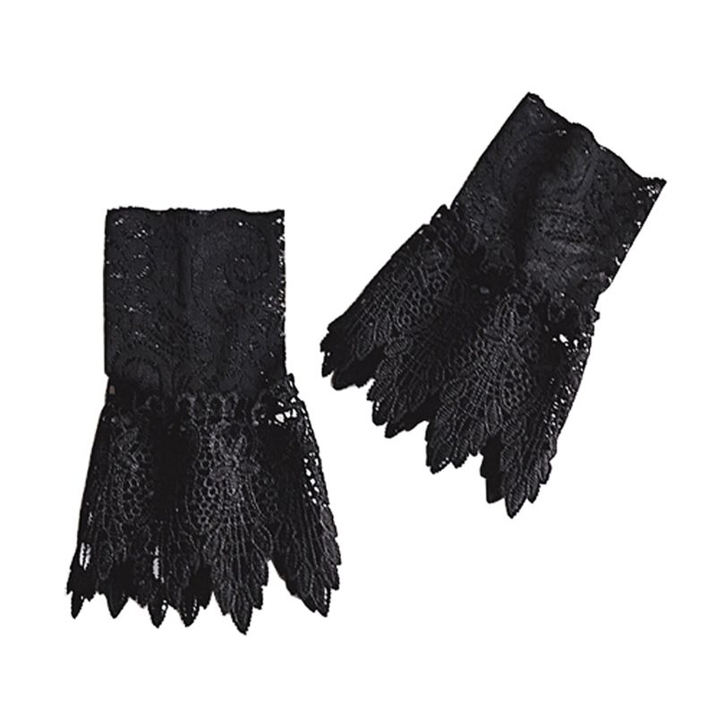 Literary Fresh Women Floral Lace Horn Cuff Imitation Pearl Button Fake Sleeve