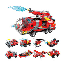 Enlighten Blocks Juguetes Jet Fire Truck Tank Helicopter 8 Deformation Assembly Legoed Boys Toys For Children