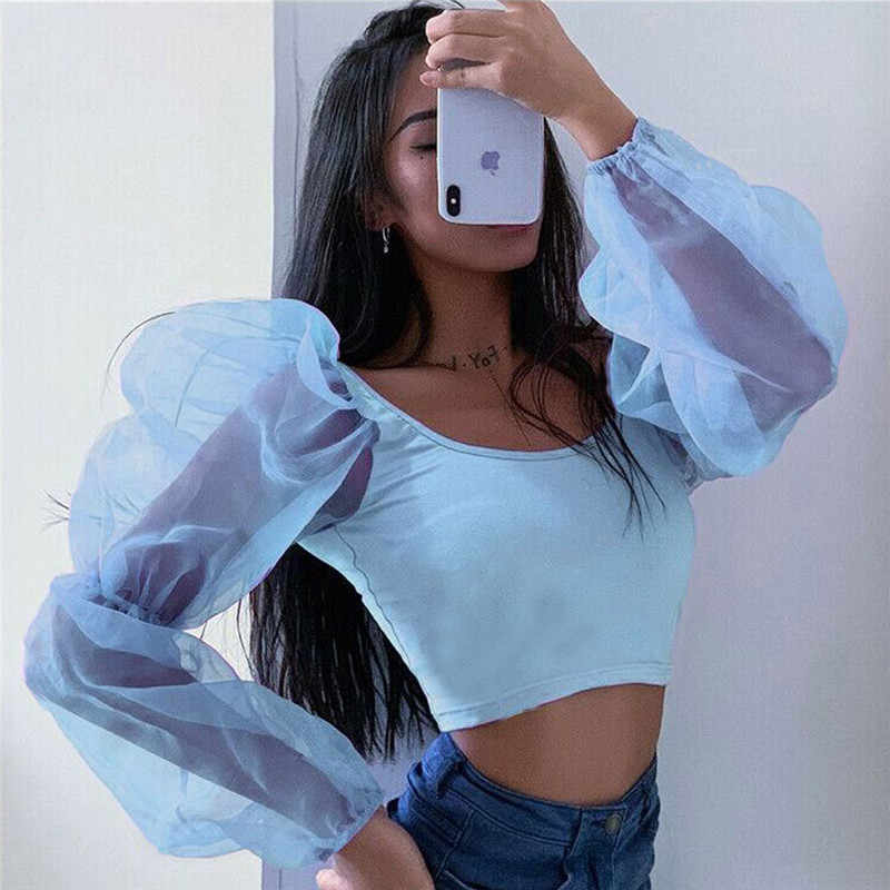 Damskie bufiaste rękawy Polka jednokolorowa na co dzień impreza z przeźroczystej organzy koszula bluzki topy Organza szyfonowa koszula wygodna bluzka topy