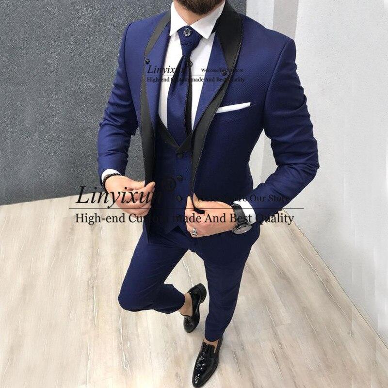 Индивидуальный темно синий приталенный Свадебный костюм для мужчин, костюмы для жениха, смокинги, 3 штуки, Женихи, мужские вечерние костюмы,