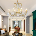 Промышленная стильная ретро железная хрустальная люстра лампа люстры E14 свечи люстры для отеля гостиной спальни освещение