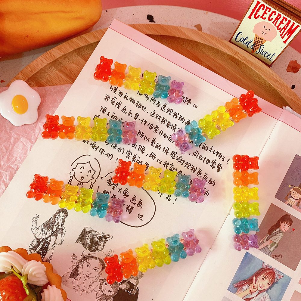 Korean Style Candy-colored Bear Shape Acrylic Hair Clips Cute Cartoon Animal Hairpin Women Girls Hair Acccessories Gifts