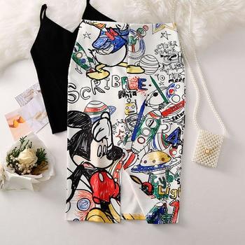 Women's Pencil skirt 2019 New Cartoon Mouse Print High Waist Slim Skirts Young Girl Summer Large Size Japan Female Falda SP534 2