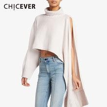 Chicever Свитер оверсайз для женщин водолазка с длинным рукавом