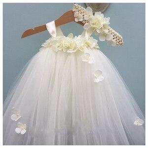 Image 2 - White Hydrangea Wedding Flower Girl Dress Kids O neck Sleeveless Christmas Dress Robe Princess Fluffy Girls Birthday Tutu Dress