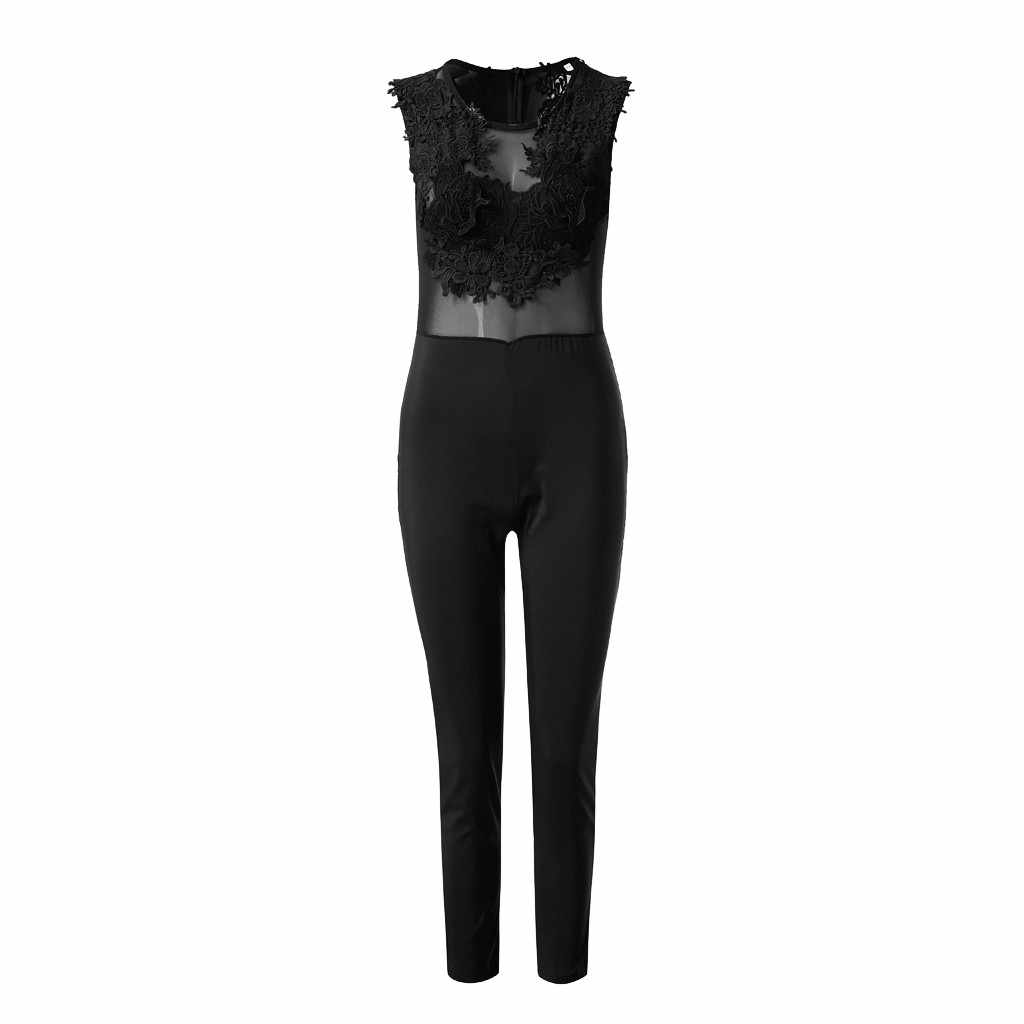 Jumpsuit new ladies sexy outdoor beach Woman Holiday Women's solid color party ladies lace long jumpsuit 19JUL31