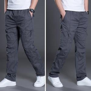 Image 1 - קיץ סתיו אופנה גברים מכנסיים מקרית כותנה מכנסיים ארוכים ישר רצים Homme בתוספת גודל 5xl 6xl שטוח מכנסיים לגברים בגדים