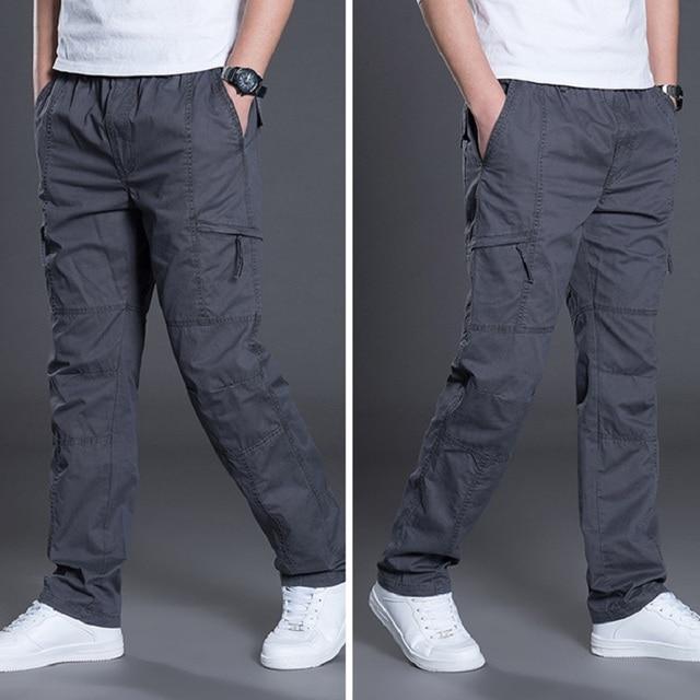 קיץ סתיו אופנה גברים מכנסיים מקרית כותנה מכנסיים ארוכים ישר רצים Homme בתוספת גודל 5xl 6xl שטוח מכנסיים לגברים בגדים