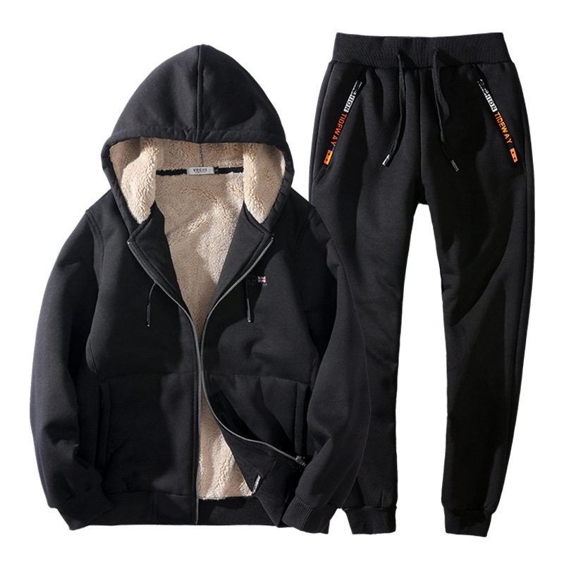 Men's Winter Thickening Large Size 8XL Running 140KG Can Wear Keep Warm Lambskin Sports Set Velvet Lining Suit