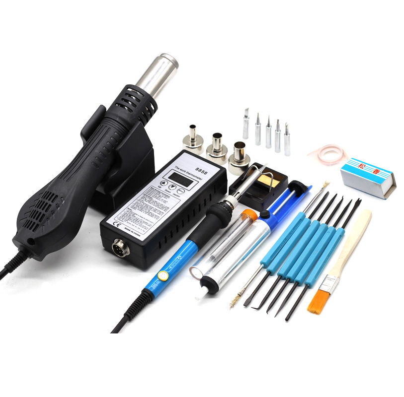Portable BGA Rework Solder Station Hot Air Blower Heat Gun 8858 Hair Dryer Soldering Hairdryer Gun Welding Soldering Repair Tool
