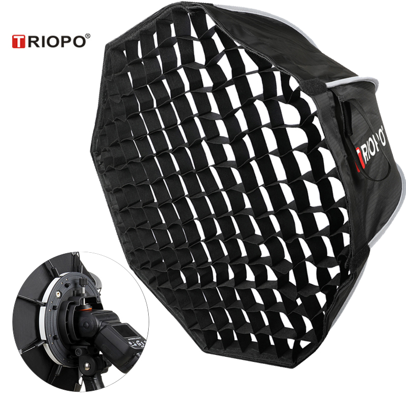 Triopo 90cm Speedlite Portable Softbox W/ Honeycomb Grid Outdoor Flash Octagon Umbrella Soft Box For Canon Nikon Godox Yongnuo
