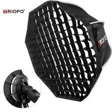 Triopo 90cm Speedlite boîte souple Portable avec grille en nid dabeille Flash extérieur octogone parapluie boîte souple pour Canon Nikon Godox Yongnuo