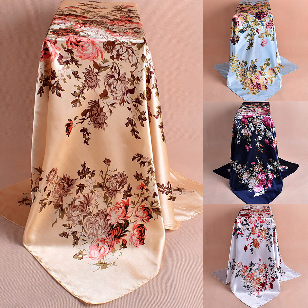 Women Ladies Fashion Printed Soft Silk Shawl Wraps Scarf Female Luxury Print Flower Scarves Echarpe Hiver Femme 2020 FJSL