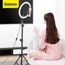 Baseus-Anillo de luz LED para Selfie, soporte de suelo de 12 pulgadas con soporte para teléfono y trípode para Youtube, maquillaje, vídeo en vivo, novedad