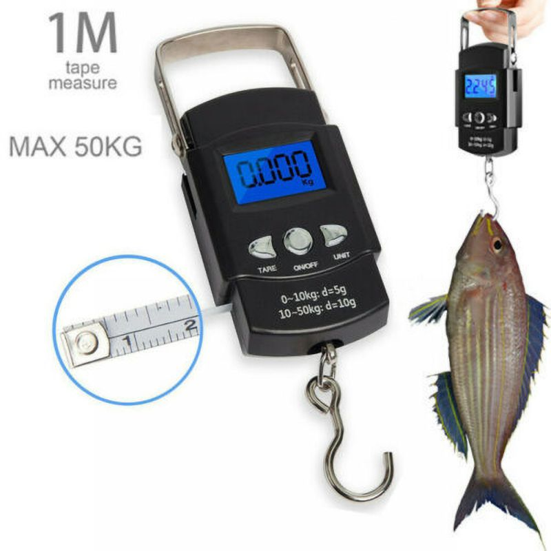 Portable LCD Electronic Digital Scale Travel Fish Hook Portable Scales With 1 Meter Tape Measure Luggage Household Electronic Sc