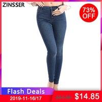 Для женщин джинсовые узкие брюки супер стрейч поддельные передний карман средняя талия промывают синий серый черный, белый цвет тонкий