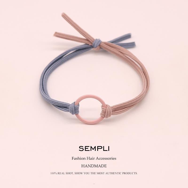 Sempli High Elasticity Elastic Hair Bands Metal Hoop Iron Ring Women Girls Kids Scrunchie Hair Accessories Microfiber Fashion