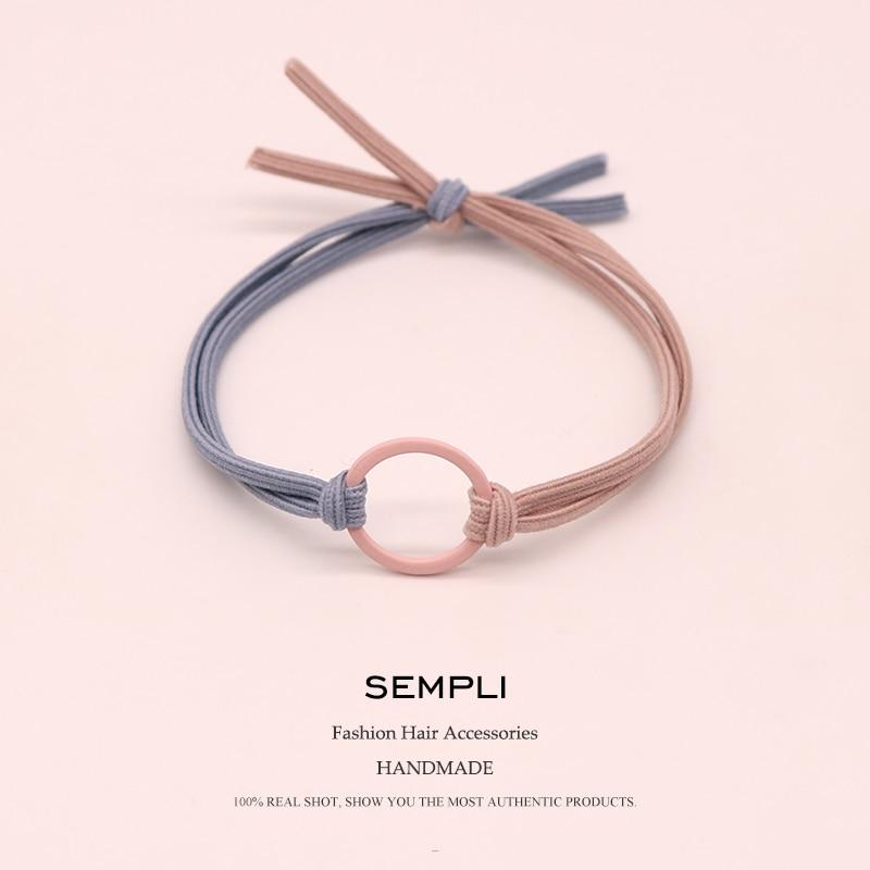 Sempli High Elasticity Elastic Hair Bands Metal Hoop Iron Ring Women Girls Kids Scrunchie Hair Accessories Microfiber Fashion