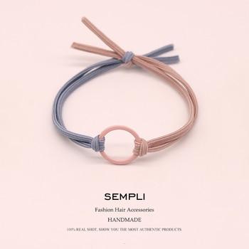 Sempli High Elasticity Elastic Hair Bands Metal Hoop Iron Ring Women Girls Kids Scrunchie Accessories Microfiber Fashion - discount item  35% OFF Headwear
