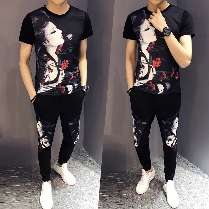 19 Summer New Beauty People Printed Set Leisure Suit Men's Douyin Celebrity Style Social Lively Fella T-shirt Two-Piece Set
