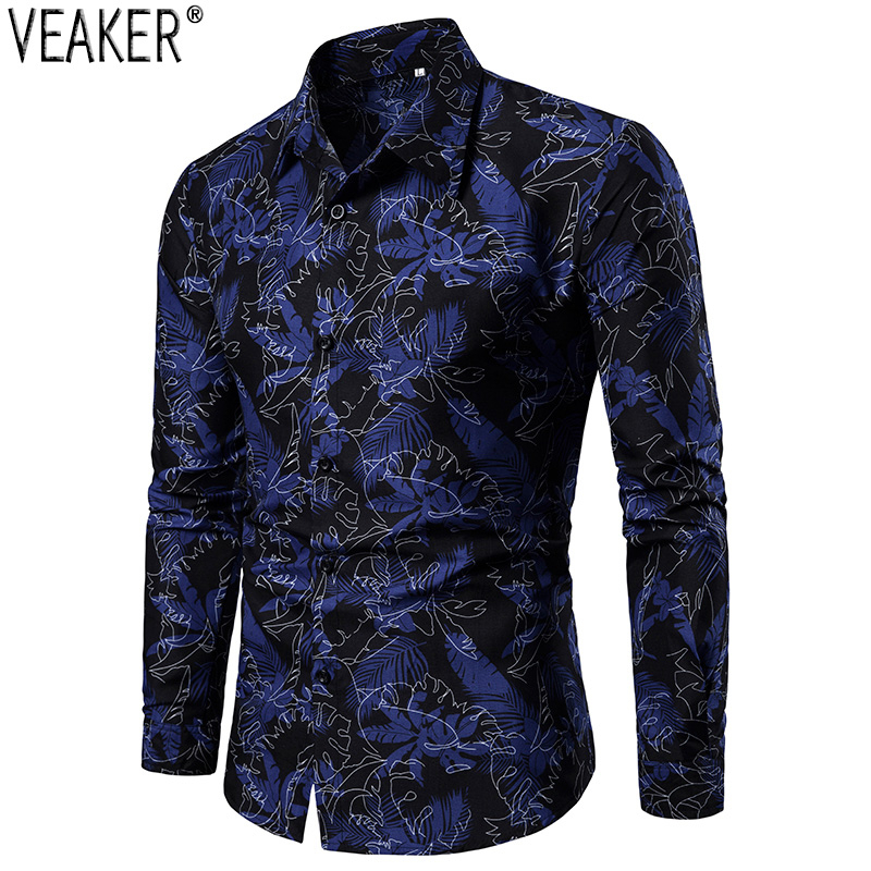2019 New Men's Slim Fit Long Sleeve Shirt Male Casual Printed Shirts Floral Print Casual Business Shirt Tops M-3XL