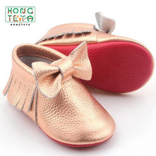 Customize red sole Baby Genuine Leather Moccasins Shoes Fringe Bow Soft Sole Footwear Christian Mary Jane Flats Dress Shoes(China)