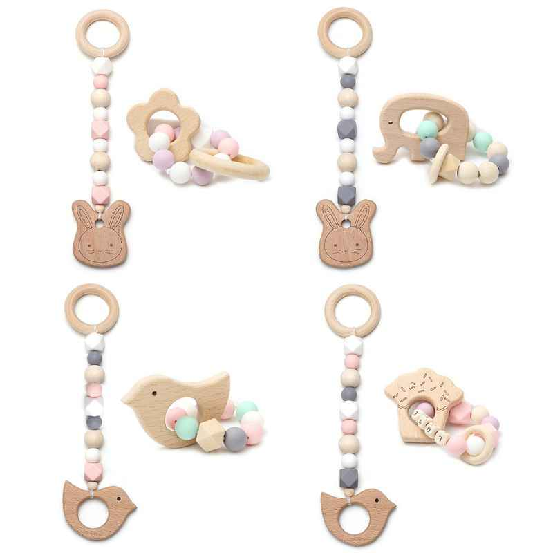 Wooden Teether Baby Baby DIY Cartoon Pacifier Clip Chain Kids Infants Gym Pendant DIY Pacifier Clip Chain For Stroller Toys